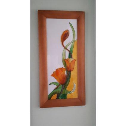 Obraz witrażowy z motywem kwiatowym